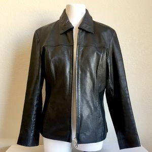 Women's black leather jacket, M
